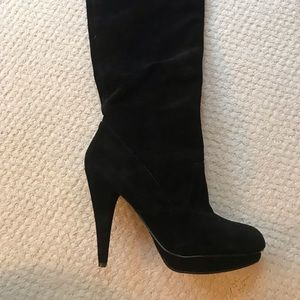 Bcbg black suede mid calf boots